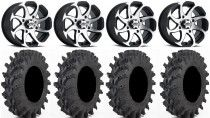 "ITP Twister 14"" Wheels Machined 32x9.5 Outback Max Tires Kawasaki Mule Pro FXT"